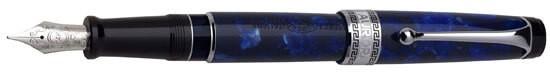 Aurora Optima Blue Auroloide with Chrome Trim Fountain Pen