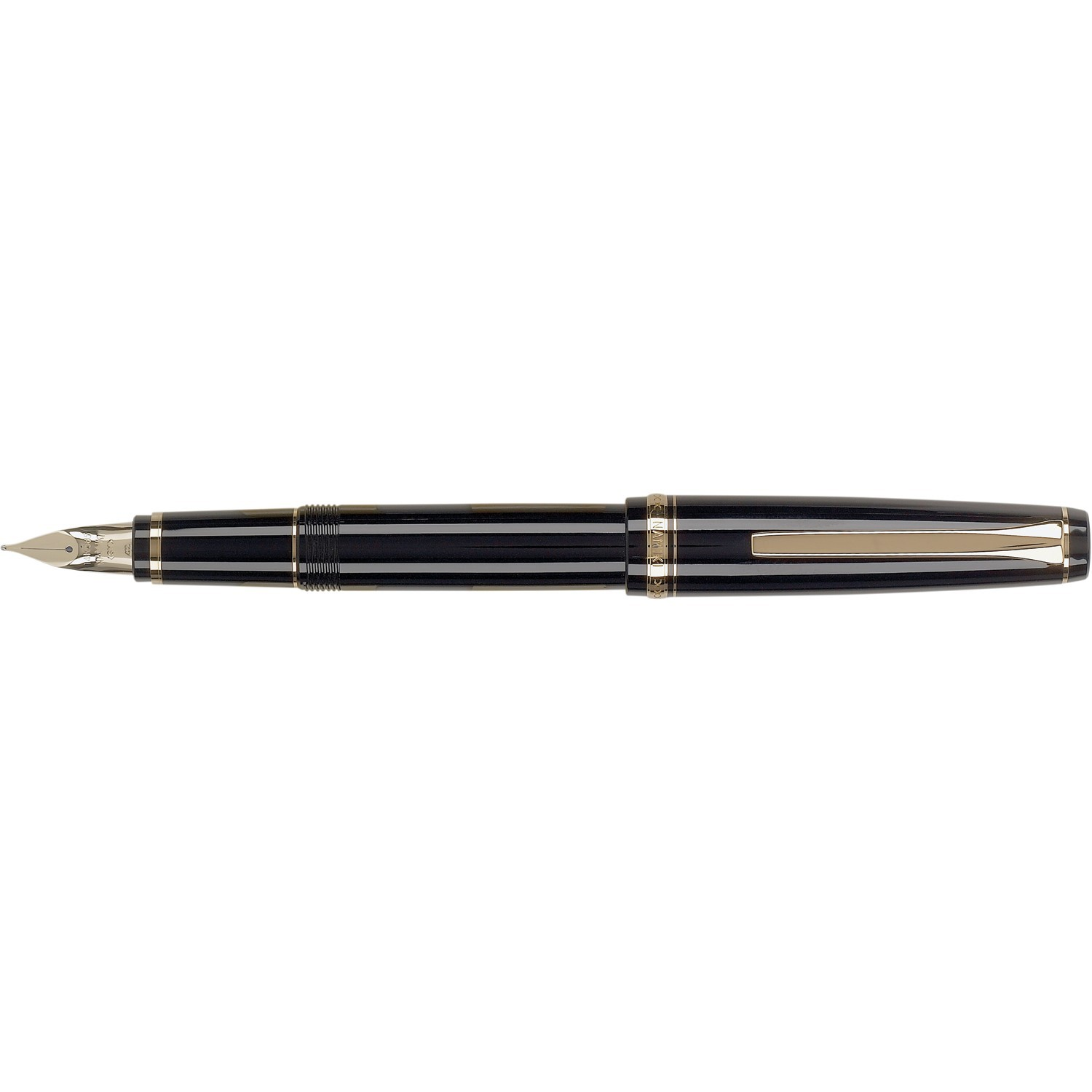 Pilot Falcon Black with Gold Plated Trim Fountain Pen
