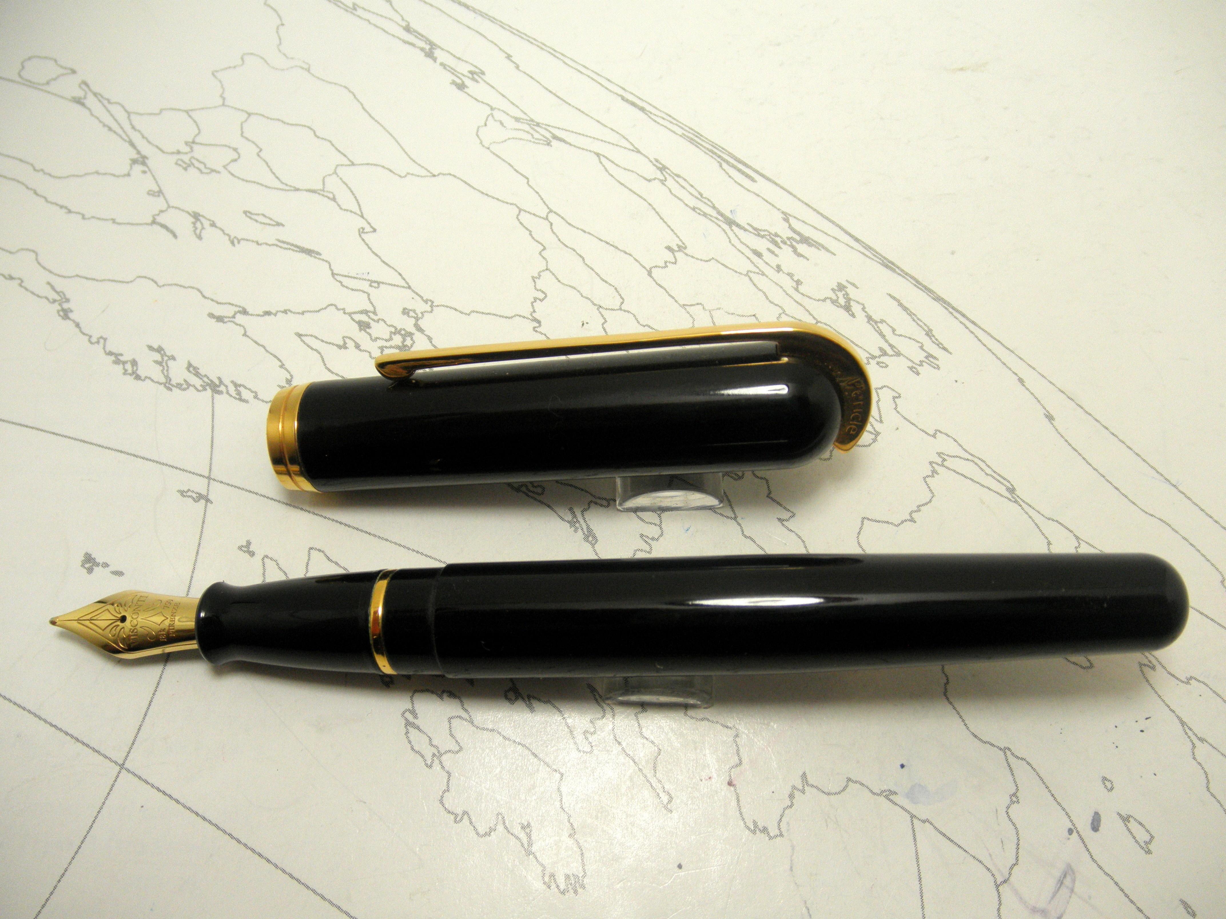 Visconti Pericle Black Visconti Pericle Black Fountain PVisconti Pericle Black Fountain Pen 18k Niben 18k NibFountain Pen 18k Nib