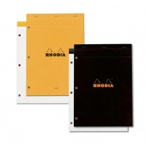 Rhodia No. 18 3 Holes Punched Black Lined Staplebound Pad