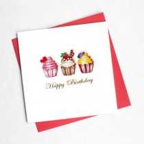 Quilling Card Cupcake Birthday bd113