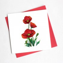 Quilling Card Red Poppies BL1036