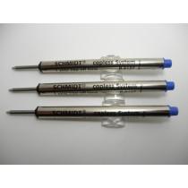Schmidt P8127 Short Capless Roller Ball Refill Blue 3 Pack