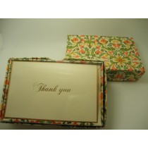 Rossi Stationery Thank You Cards Green/Coral