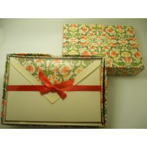 Rossi Stationery Note Cards Green/Coral